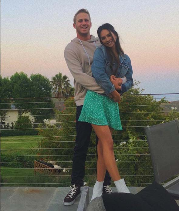 A picture of Christen Harper and Jared Goff together.